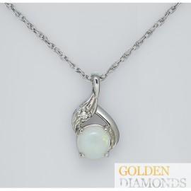 Золотой кулон с бриллиантом и опалом