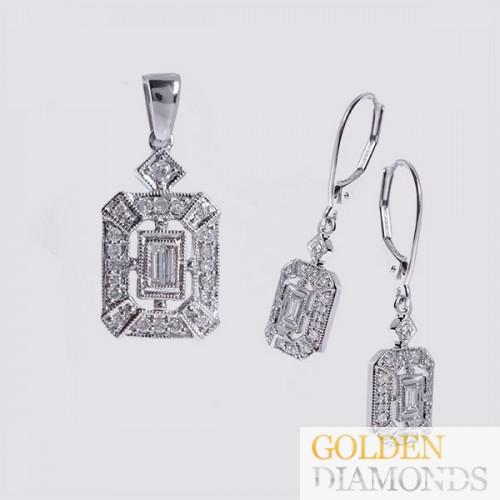 Золотой кулон и серьги с бриллиантами