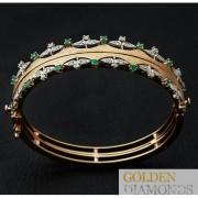 Золотой браслет с бриллиантами и изумрудами
