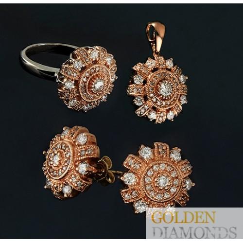 Кольцо, кулон и серьги из золота с бриллиантами