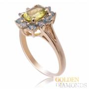 Золотое кольцо с топазами и хризолитом