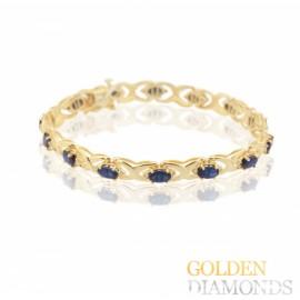 Золотой браслет с бриллиантами и сапфирами