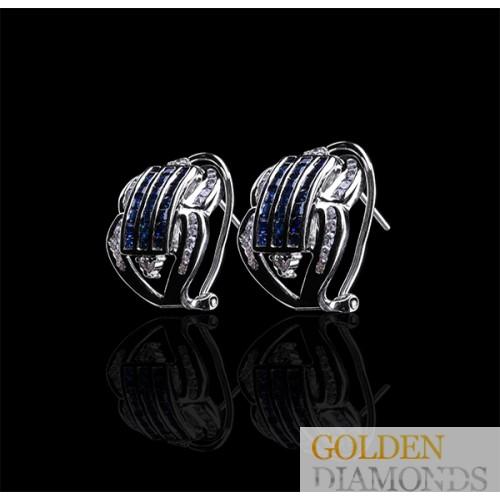 Золотые серьги с бриллиантами и сапфирами