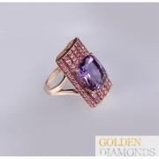 Золотое кольцо с  аметистом и турмалином