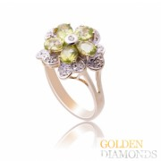 Золотое кольцо с бриллиантами и хризолитами