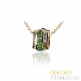 Золотой кулон с изумрудами и бриллиантами