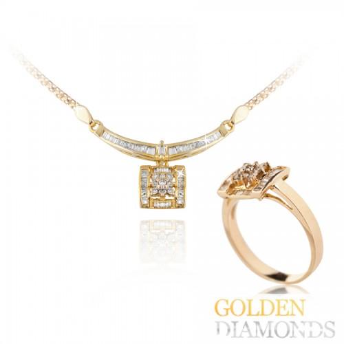 кольцо и колье из золота с бриллианатми