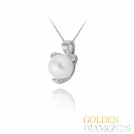 Золотой кулон с жемчугом и блиллиантами