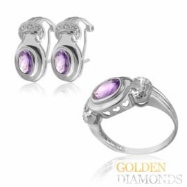 кольцо и серьги из золота с бриллиантами