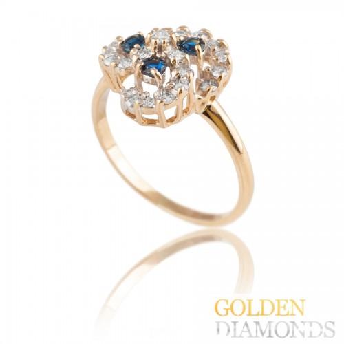 Золотое кольцо с сапфпирами и бриллиантами