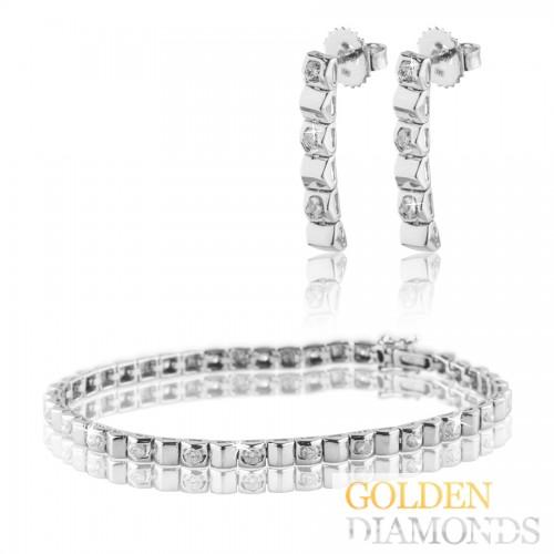 браслет и серьги из золота с бриллиантами