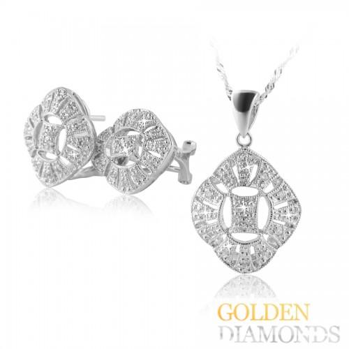 кулон и серьги  из белого золота с бриллиантами