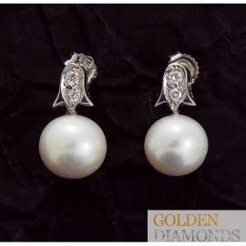Золотые серьги с бриллиантами и жемчугом