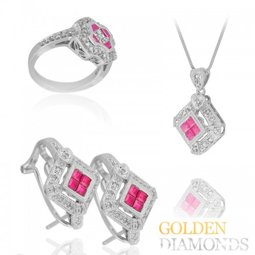 кулон, серьги и кольцо из золота с бриллиантами