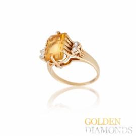 Золотое кольцо с цитрином и бриллиантами