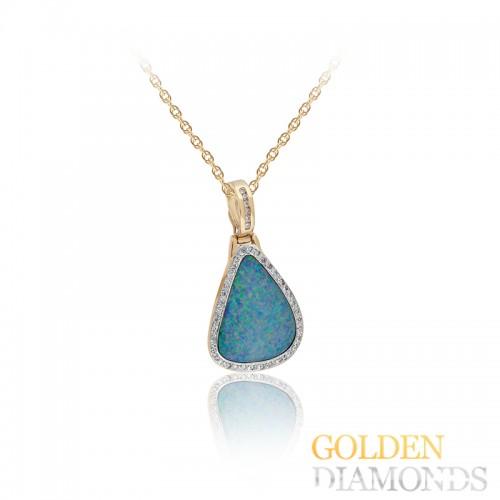 Золотой кулон с опалом и блилиантами
