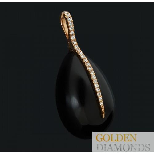 Золотой кулон с бриллиантом и ониксом