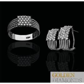 Золотое кольцо и серьги с бриллиантами